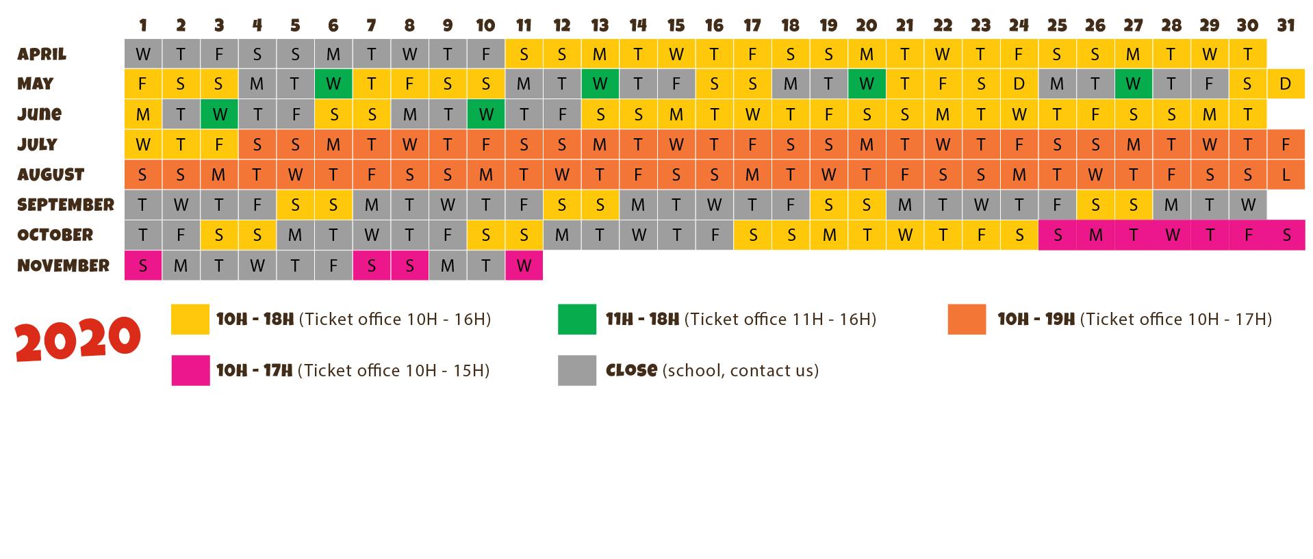 2020 calendar of le Village des Fous