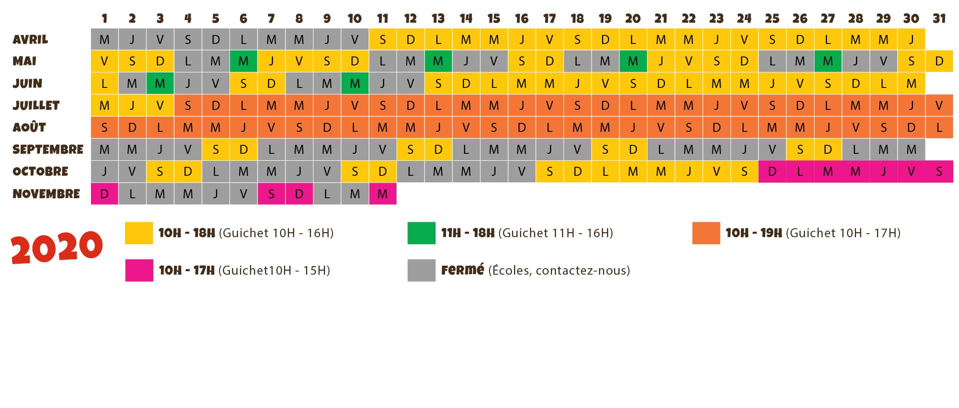 calendrier 2020 Le Village des Fous