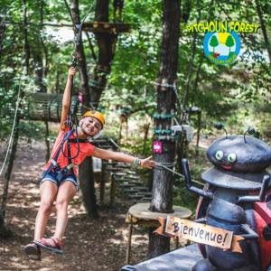 Tyrolienne du parcours aventure Pitchoun Forest