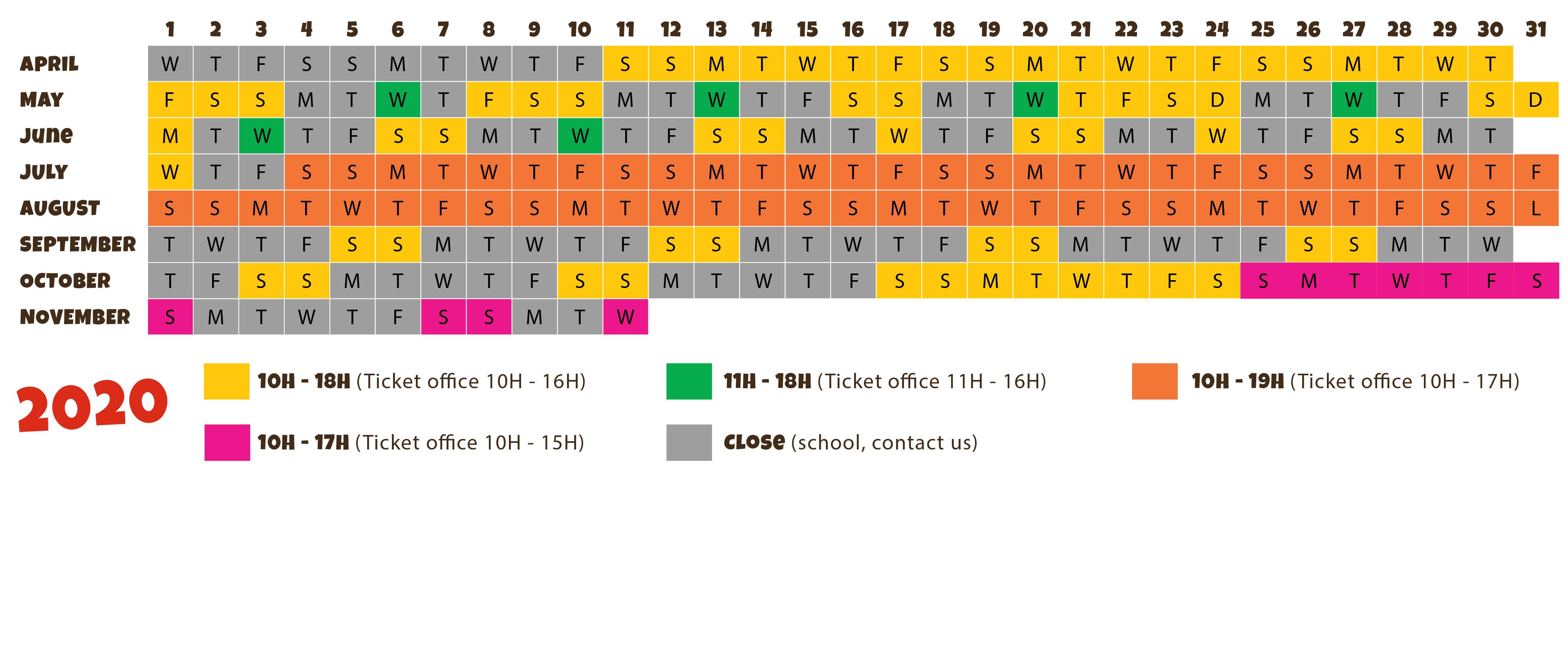 Calendar 2020 of the leisure park Le Village des Fous