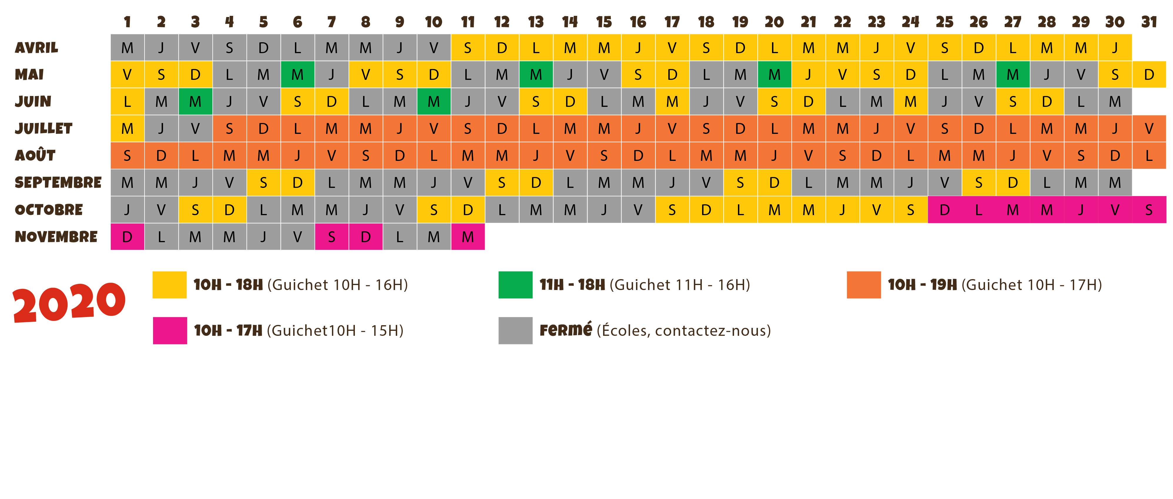 calendrier ouverture parc de loisirs Village des Fous