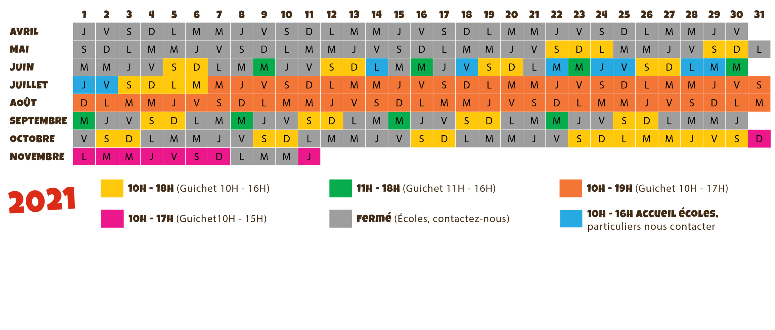 jours et horaires d'ouverture du parc de loisirs Le Village des Fous